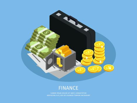 Isometric Business Finance Concept