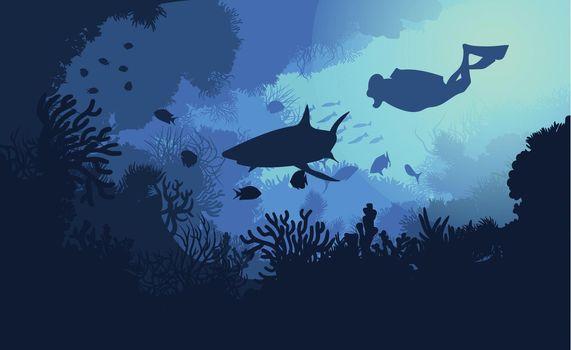 Marine Underwater Flora And Fauna Background