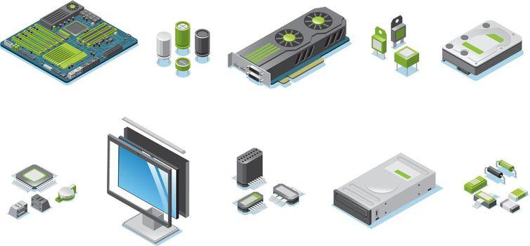 Isometric Computer Hardware Parts Set