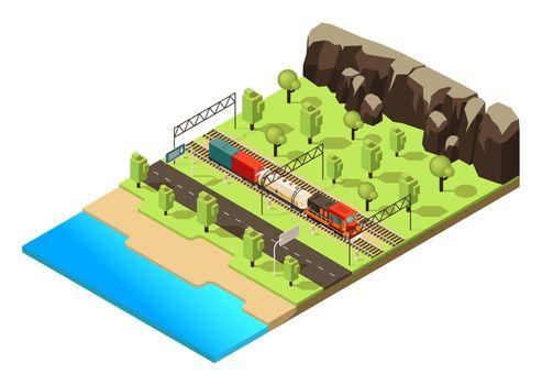 Isometric Railroad Transportation Concept