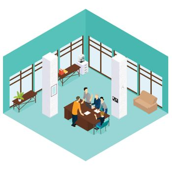 Isometric People Teamwork Concept