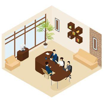 Isometric Business Recruitment Process Template