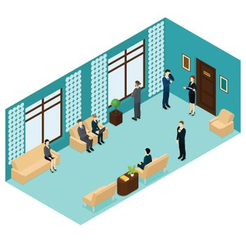 Isometric Human Personnel Recruitment Template