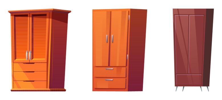 Wooden wardrobes, cabinets for bedroom interior