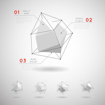 Vector low poly polygonal geometric shapes