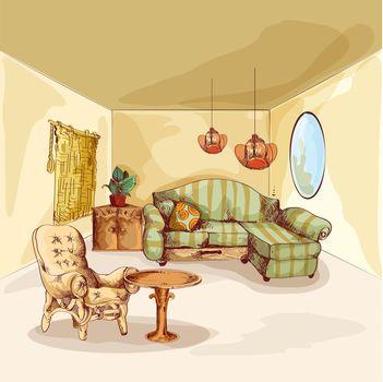 Living Room Interior Sketch