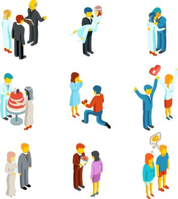 Isometric 3d relationship and wedding people icons