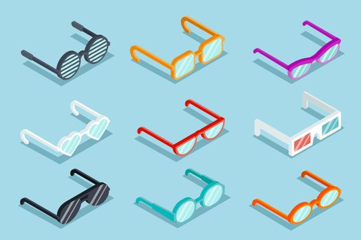 Isometric vector glasses