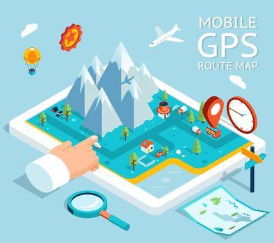 Isometric mobile GPS navigation flat map