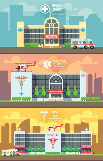 Medical center and hospital building vector banners set. Health care concept