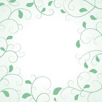 Floral Frame with Leaf