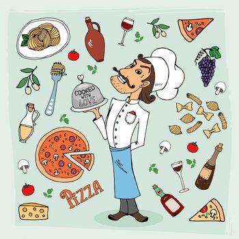 Italian cuisine and food hand-drawn illustration