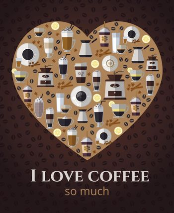I love coffee sign in shape of heart