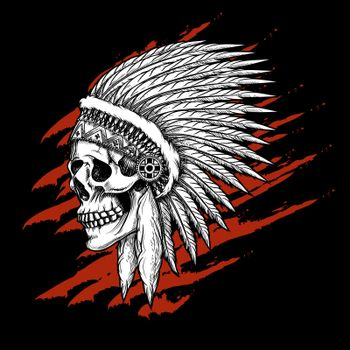 Indian tribal skull with feathers emblem