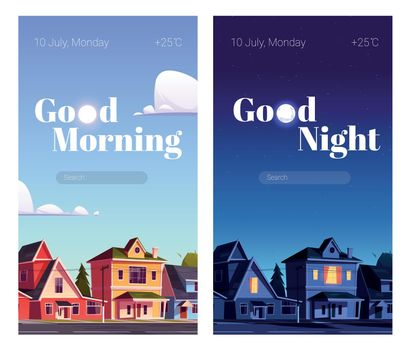 Phone screensaver with morning and night city