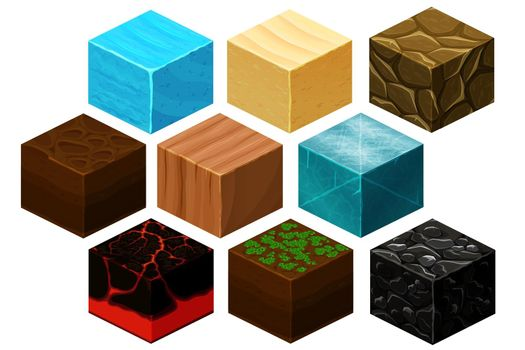 Isometric 3D cube textures vector set for computer games