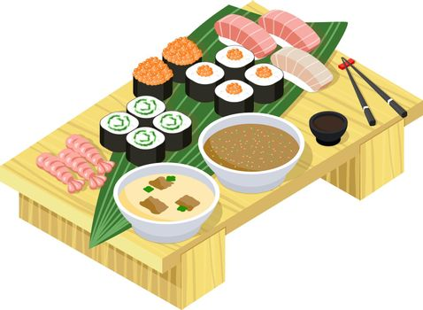 Japanese food. Sushi and rolls on wooden stand