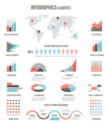 Infographics elements for websites, brochures and templates
