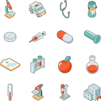 Medicine and health care isometric 3d icons