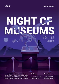 Night of museums cartoon flyer with dinosaur.