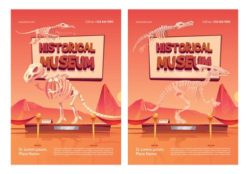 Historical museum posters with dinosaur skeletons