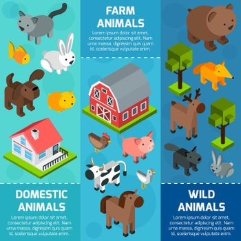 Isometric Animal Banner