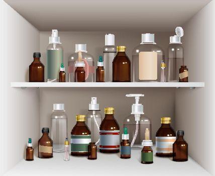 Medical Bottles On Shelves Set