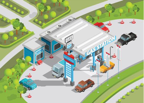 Isometric Composition Of Gas Station