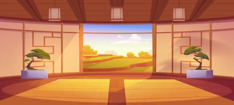 Dojo room, japanese style interior for meditation