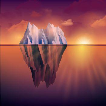 Iceberg On Sunset