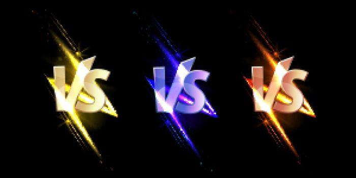 Versus VS signs with glow sparks combat symbols