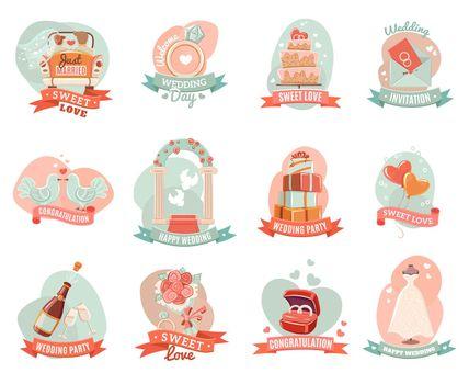 Wedding marriage engagement emblems stickers set