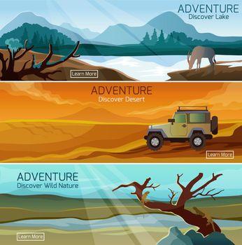 Nature landscapes travel flat banners set