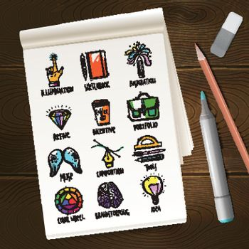 Notebook With Creative Process Sketches