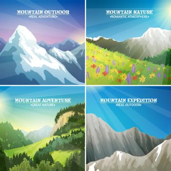 Mountain Landscapes 4 Flat Icons Square