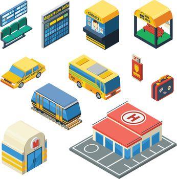 Passenger Transportation Isometric Icons