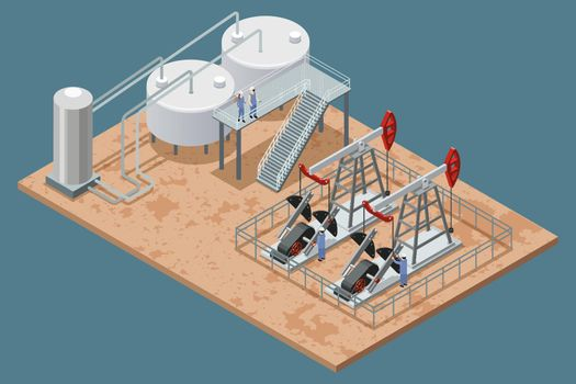 Oil Production Facilities Isometric Poster