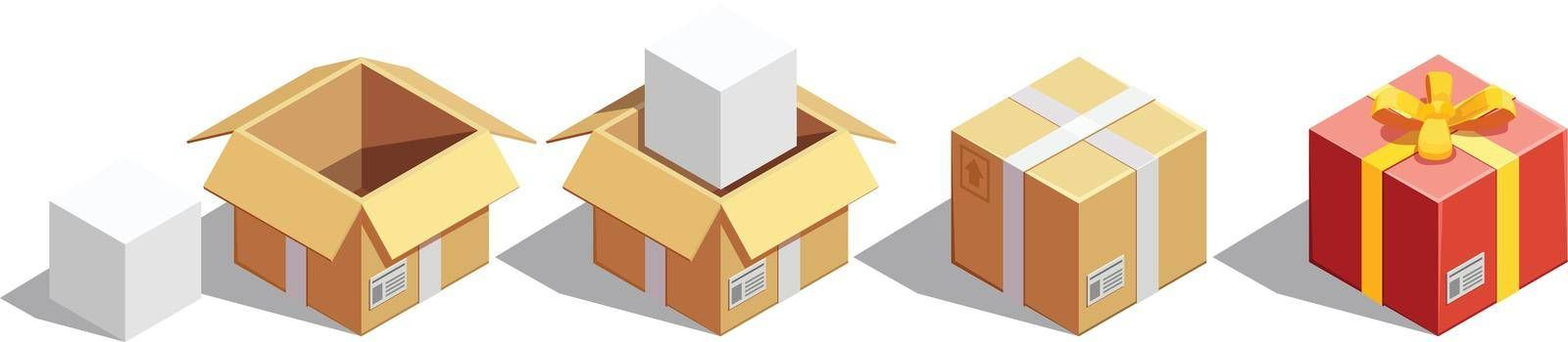 Parcel Packaging Isometric Set