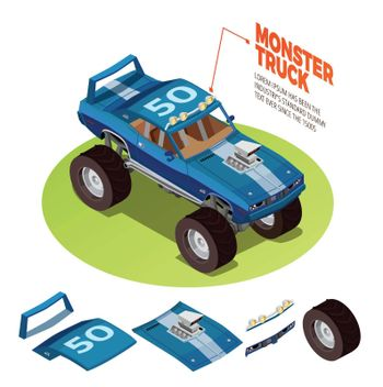 Monster Car 4wd  Model Isometric Image