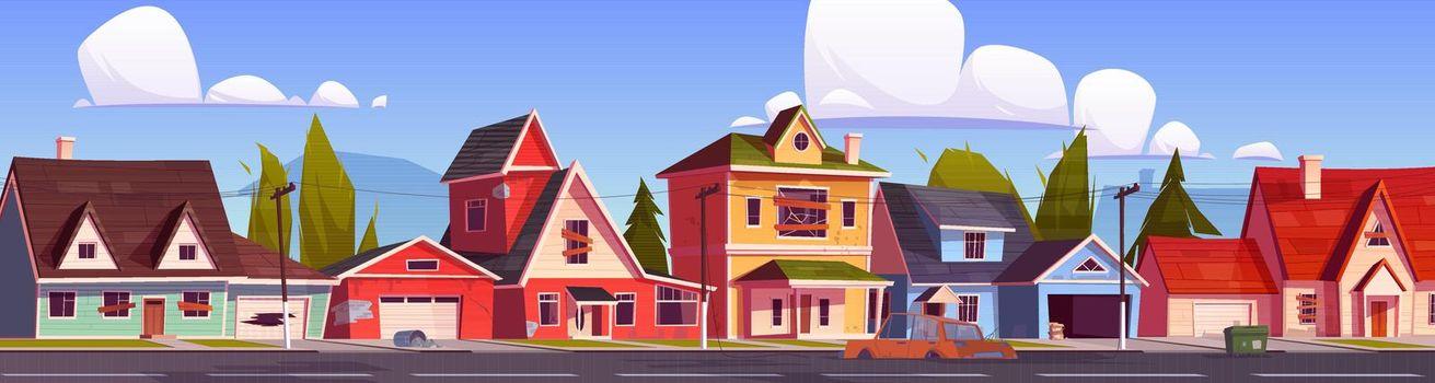 Abandoned suburb houses, suburban neglected street