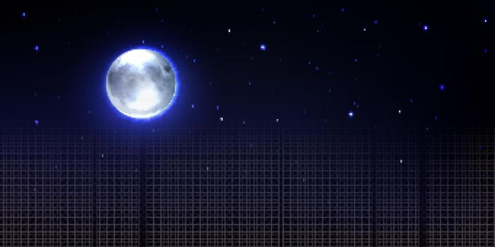 Realistic moon in space with stars, transparency