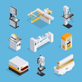 Modern Woodworking Machinery Isometric Set