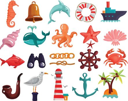 Nautical Elements And Sea Life Collection