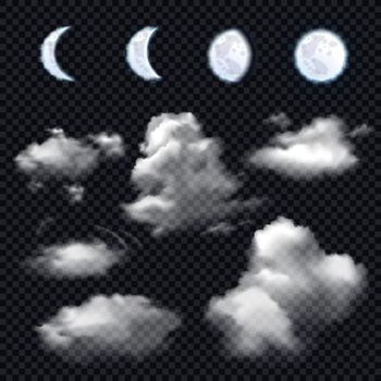 Moon And Clouds On Transparent Background