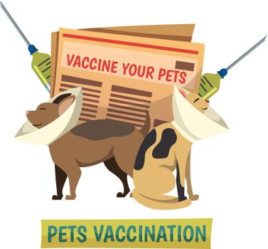 Pets Vaccination Orthogonal background Composition
