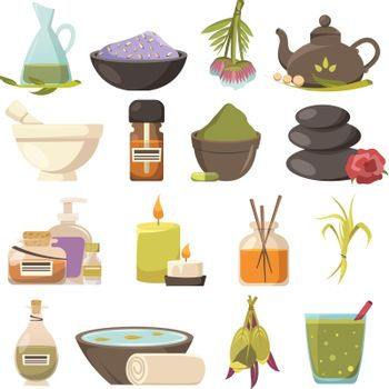 Natural Cosmetology Icons Set