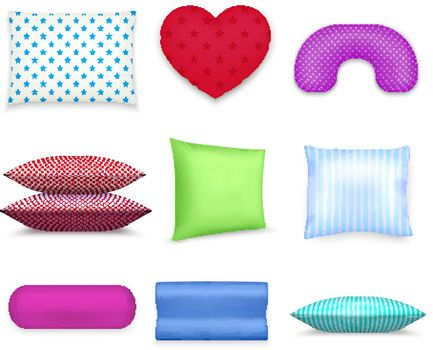 Pillows Cushions Colorful Realistic Set