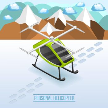 Personal Helicopter Isometric Composition