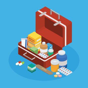 Pharmaceutical Production Suitcase Isometric Background