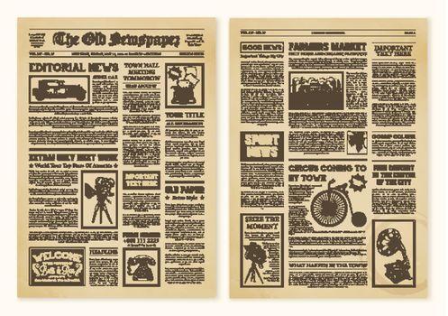 Newspaper Pages In Vintage Design
